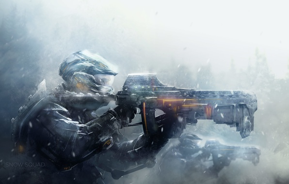 Picture snow, weapons, war, art, soldiers, helmet, armor, Blizzard