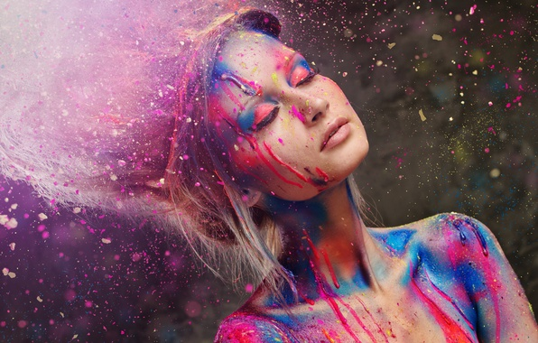 Picture Girl, Color, Paint, Mood
