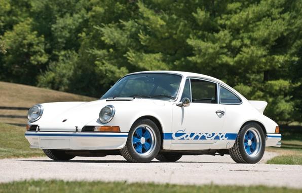 Picture white, supercar, Porsche, Porsche 911, Coupe, Carrera, 1972, Carerra, coupe.the front