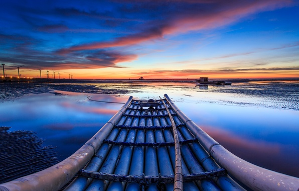 Picture The sky, Water, Clouds, Horizon, House, Boats, Windmills