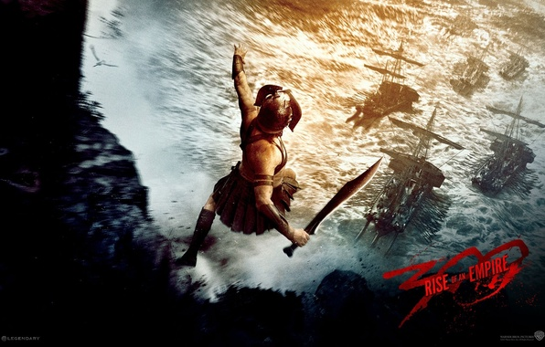 Picture rock, jump, ship, sword, Spartan, 300 Spartans: rise of an Empire, 300: rise of an …