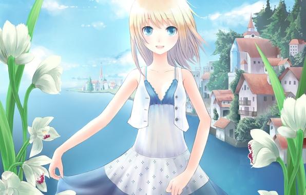 Picture flowers, the city, lake, river, art, girl, minato, shouno