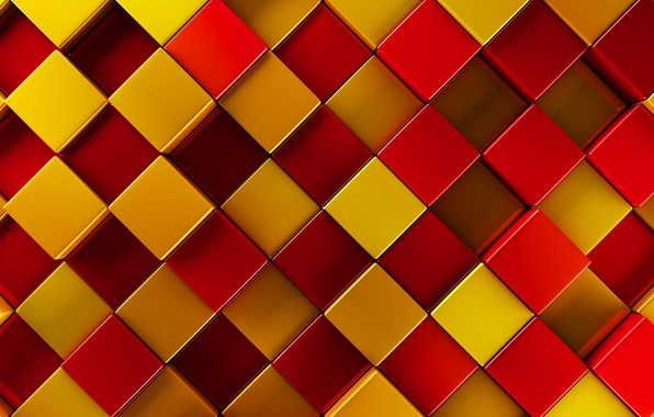 Picture yellow, red, texture, squares