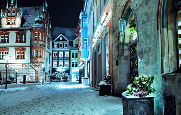 Picture winter, road, snow, night, lights, street, building, home, Germany, lighting, Germany