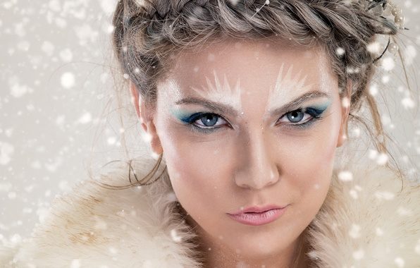 Picture girl, snowflakes, face, makeup, hairstyle, fur, beauty, closeup