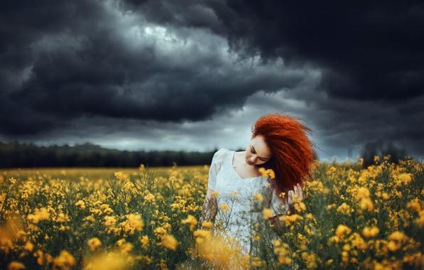 Picture field, the sky, girl, rape