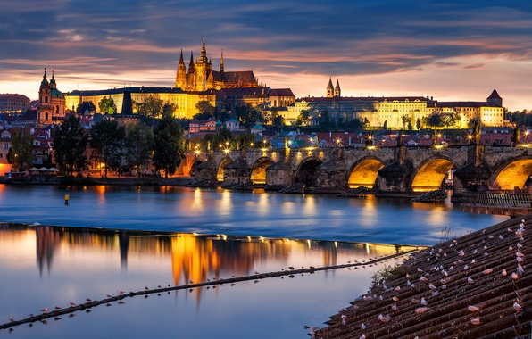 Picture bridge, the city, river, building, the evening, Prague, Czech Republic, architecture, Prague, The Czech Republic, …