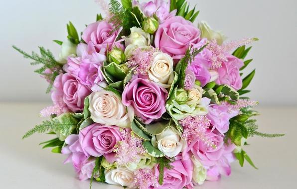 Photo Wallpaper Wedding Bouquet Purple Roses Beautiful