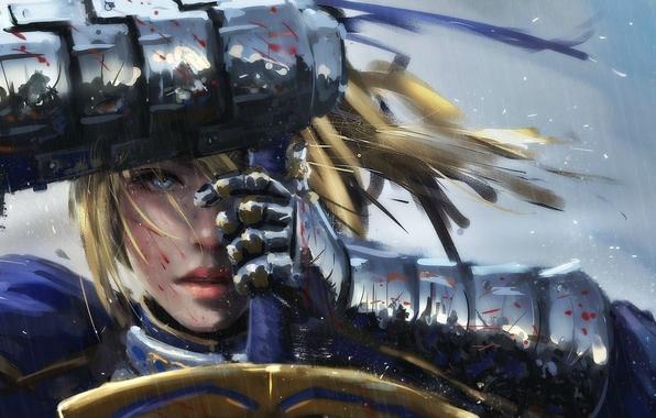 Picture girl, sword, fantasy, rain, armor, saber, Warrior, art, blue eyes, painting, blonde, artwork
