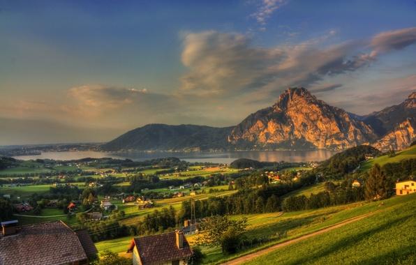 Picture forest, landscape, mountains, nature, river, rocks, Austria, town, mountains, Austria, home., Cities, Gmunden