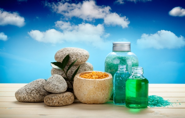 Picture stones, jars, sky, Spa, stones, spa, salt, bath salt