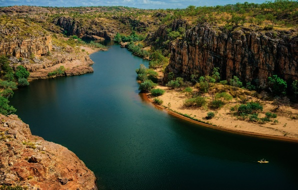 Picture trees, river, rocks, boat, Australia, National Park Nitmiluk