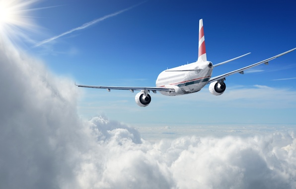 Picture the sun, clouds, flight, the plane, height, in the sky, passenger