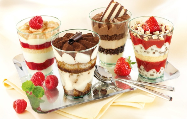 Picture raspberry, coffee, food, cream, strawberry, glasses, dessert, jam, tray, delicious, cocoa, spoon, powder, iris, chocolate …