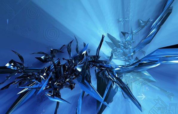 Picture spiral, Matrix, fiction, blue background