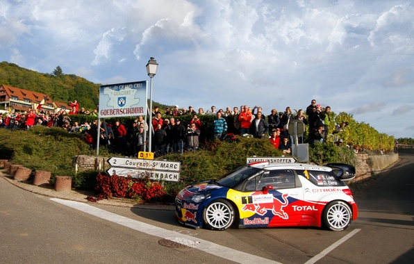 Picture The sky, Auto, Sport, Machine, People, Turn, Race, Asphalt, Citroen, Day, Citroen, DS3, WRC, Rally, …