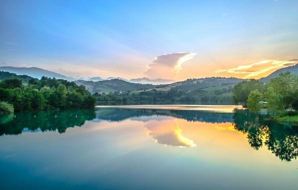 Picture reflection, river, dawn, Italy, Italy, Marche, Marche