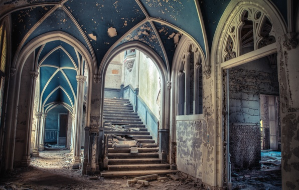 Picture ladder, devastation, steps, arch, mansion, abandonment