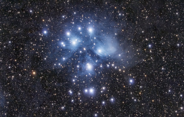 Picture space, stars, M45, Pleiades
