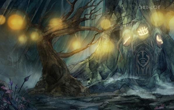Picture Fantasy, Tree, Wallpaper, Forest, Woods, Door, Child of Light, Glowing, Oak, Balls of Light