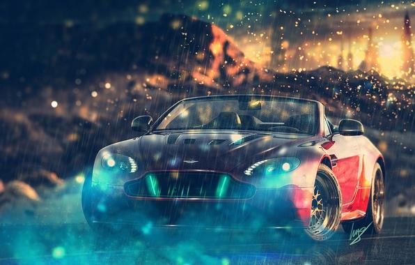 Picture Aston Martin, Aston Martin, red, V12, front, Vantage S Roadster, HansenART, by ilpol my