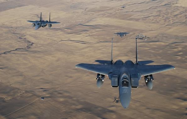 "Picture fighters, three, Eagle, flight, F-15, ""Eagle"""