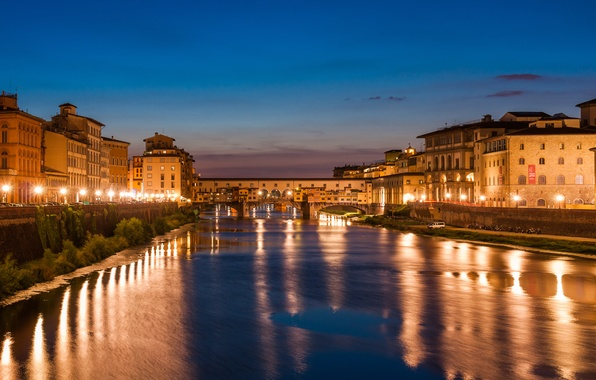Picture sea, the sky, clouds, city, the city, lights, lights, the ocean, building, Night, Venice, Florence, …