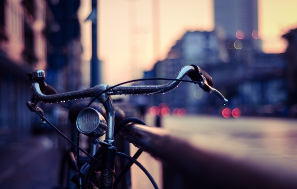 Picture drops, macro, bike, lights, the evening, railings, bokeh