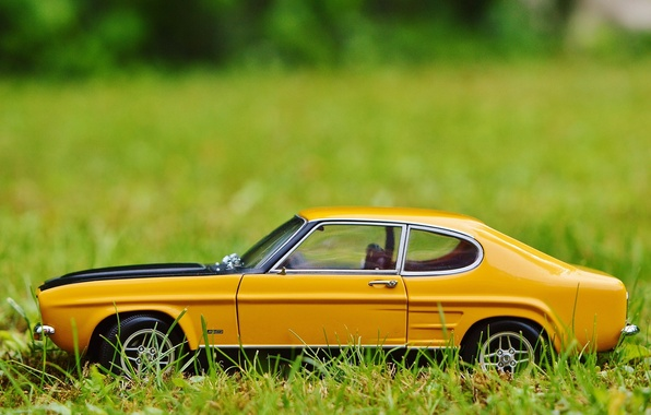 Picture auto, grass, toy, car, ford, classic, model, Oldtimer, capri, car model