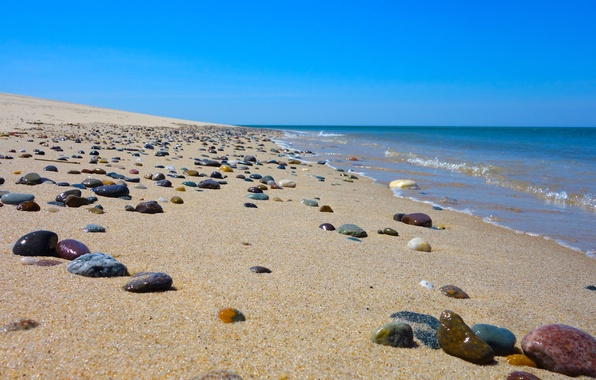 Picture sand, sea, wave, beach, the sky, stones