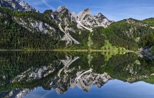 Picture mountains, lake, reflection, Austria, Austria, Dachstein Mountains, the Dachstein mountains, Gosau Lakes, Gosaukamm, Gosauseen
