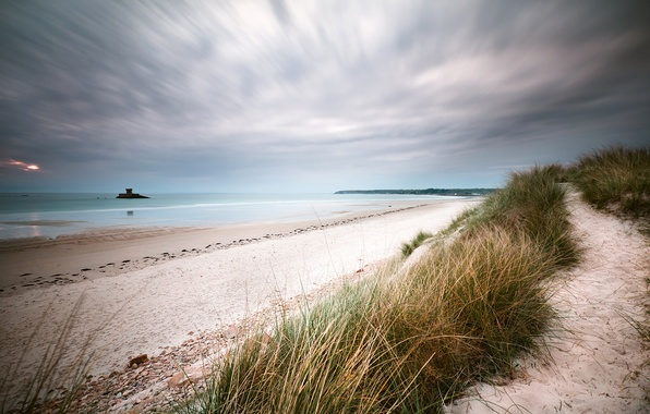Picture sea, beach, clouds, the evening, dunes