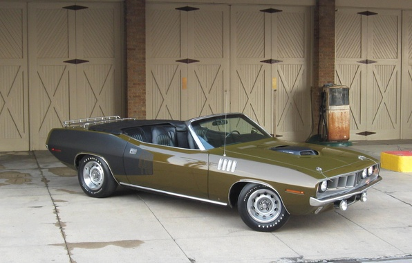 Picture green, gate, 1971, column, convertible, black, side view, Plymouth, Plymouth, WHERE, CUDA, black-green, cabriolet