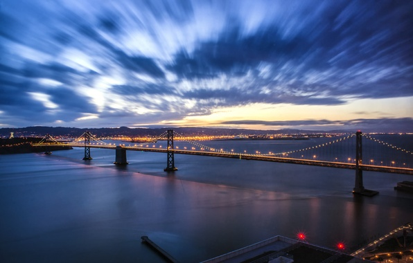 Picture the sky, clouds, sunset, bridge, lights, the evening, lighting, backlight, port, CA, Bay, San Francisco, …