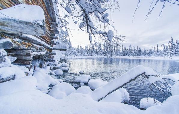 Picture winter, snow, lake, the snow, Finland, Finland, Lapland, Lapland, Ylläs, Äkäslompolo, Akaslompolo, Ylläs
