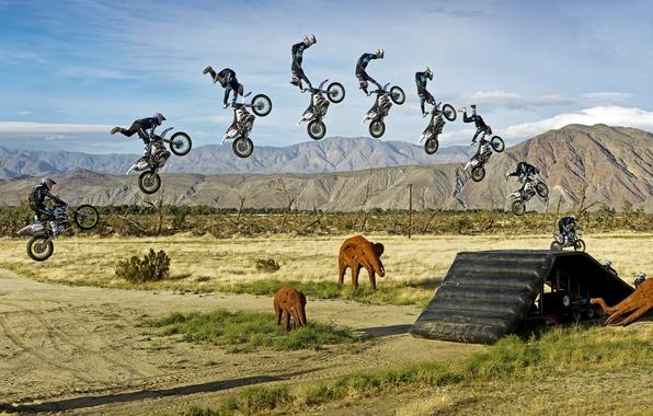 Picture the sun, clouds, mountains, nature, jump, Wallpaper, sport, panorama, wallpaper, bike, motorcyclist, elephants, Motorsport, jump, …