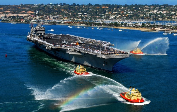 Picture rainbow, port, the carrier, greeting, small ships, jets of water