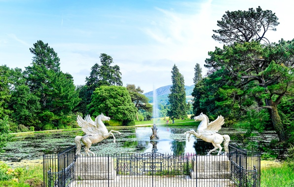 Picture the sky, trees, pond, Park, people, horse, fountain, sculpture, Ireland, Pegasus, County Wicklow