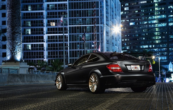 Picture the city, building, Mercedes-Benz, black, AMG, rear, C63, C-Class