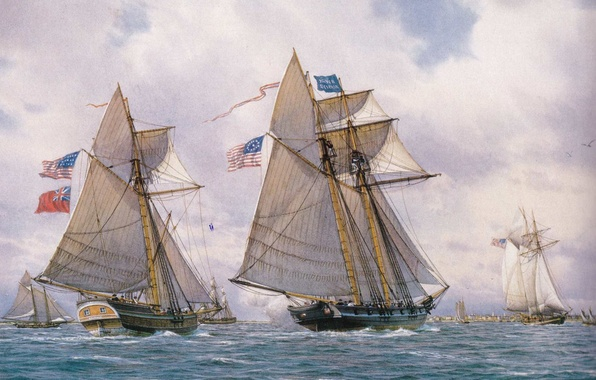 Picture wave, the wind, oil, ships, picture, port, Bay, sails, flags, canvas, sailboats, Brigi, waters, schooner, …