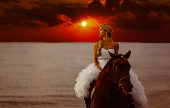 Picture sea, girl, sunset, style, mood, horse, horse, dress