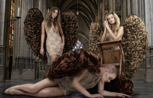 Picture girls, hair, wings, Angels