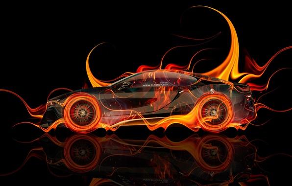 Picture Auto, Black, Fire, BMW, Machine, BMW, Wallpaper, Background, Orange, Orange, Car, Fire, Color, Art, Photoshop, ...