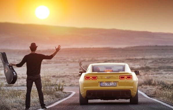 Picture the sun, landscape, nature, Wallpaper, photoshop, guitar, mountain, wallpaper, guy, 2012, Chevrolet, camaro, chevrolet, Camaro