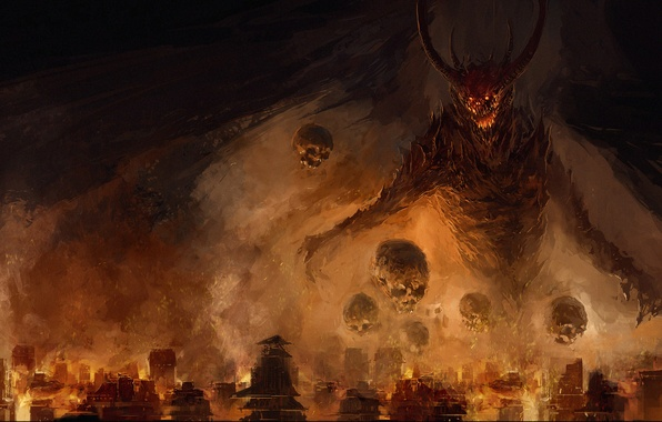 Picture the city, fear, fire, the darkness, skull, wings, the demon, Chris Cold, Spikes