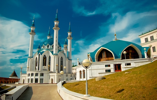 Picture the Kremlin, mosque, Kazan, blue sky, Tatarstan, Kul-Sharif