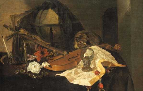 Picture flower, violin, the crucifixion, Jacques de Claeuw, Still life. Allegory Of Vanity