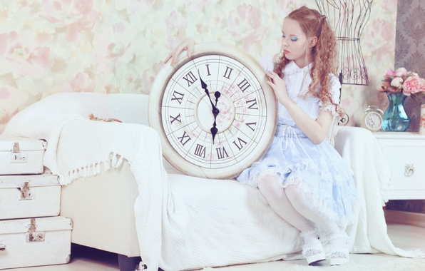 Picture sofa, watch, Girl, dress, girl, art, costume