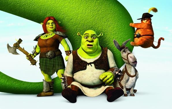 Picture Shrek, cartoon, hat, poster, Ogre, sword, puss in boots, donkey, Puss in Boots, Shrek, Donkey, …