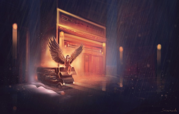 Picture machine, girl, rain, wings, angel, art